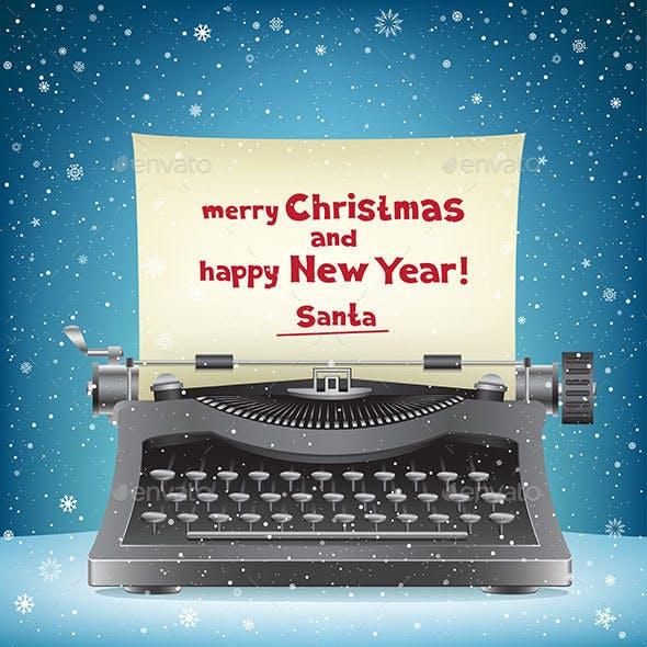 Santa Claus Typewriter and Snow