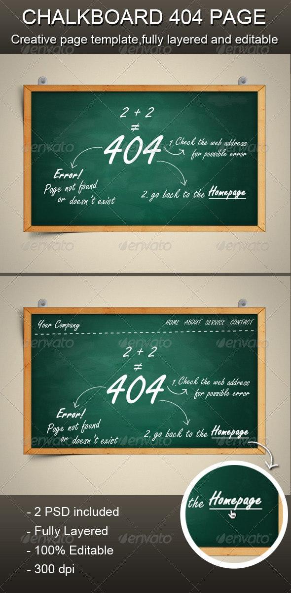 Chalkboard 404 Error Page - 404 Pages Web Elements
