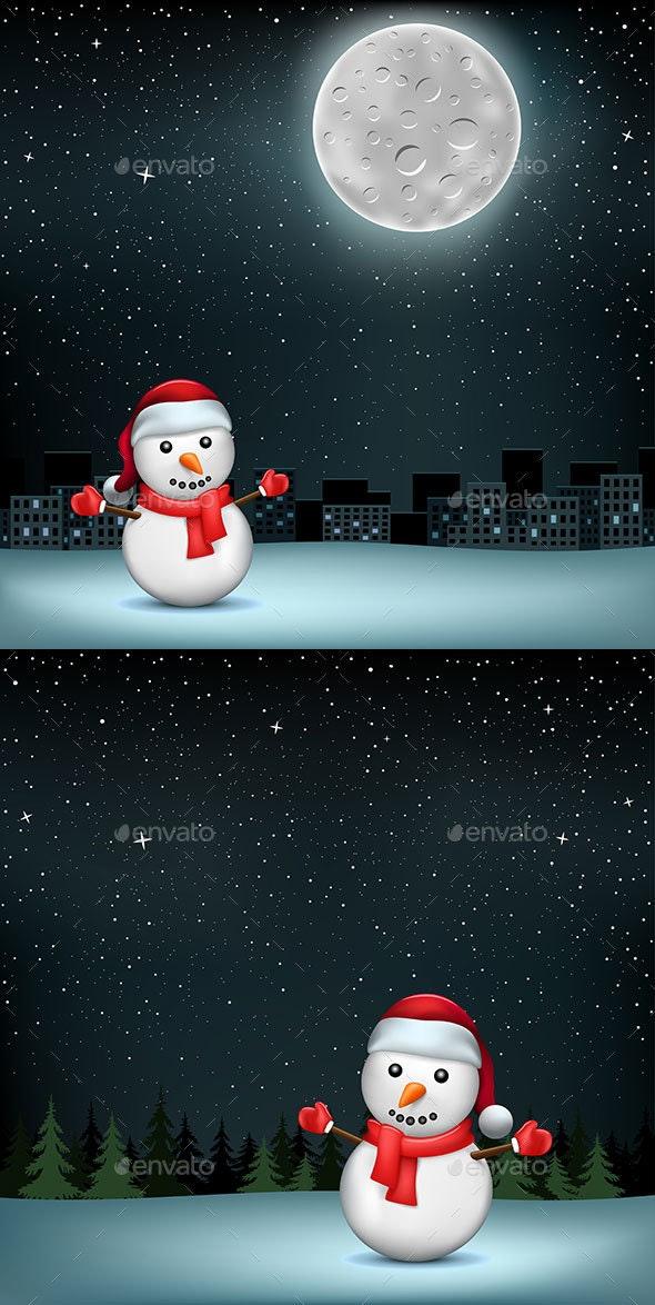 Snowman Stars Moon City - Christmas Seasons/Holidays