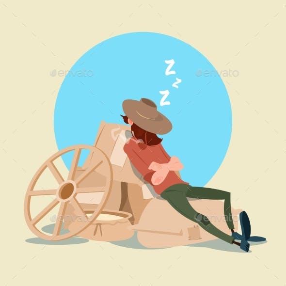 Farmer Countryman Sleeping on WHeat Sacks