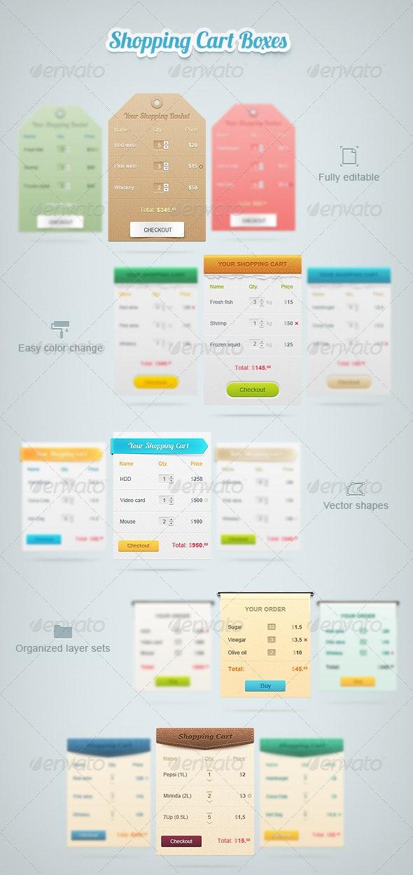 Shopping Cart Boxes - Miscellaneous Web Elements