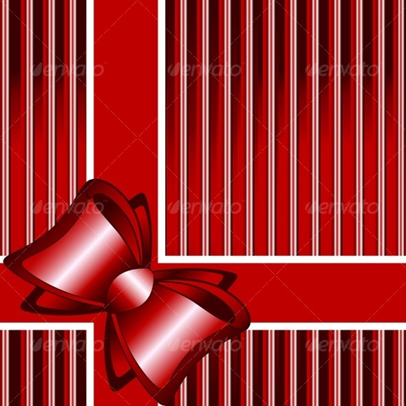 striped red background with a bow - Seasons/Holidays Conceptual