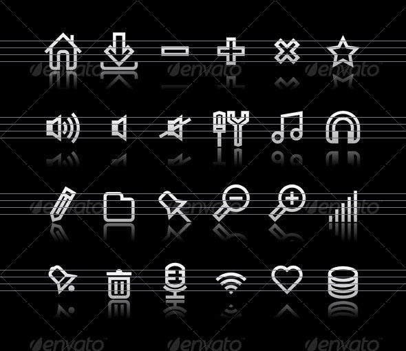 Simple icons on black background - Set 1 - Web Icons