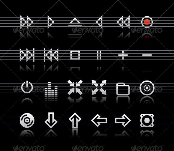 Simple icons on black background - Set 2 - Web Icons