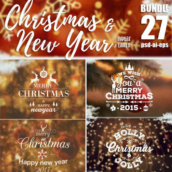 Bundle Christmas Badges & label