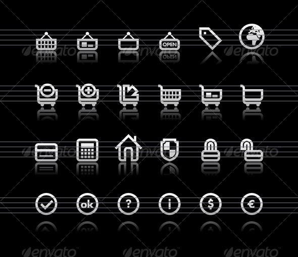 Simple icons on black background - Set 4  - Web Icons