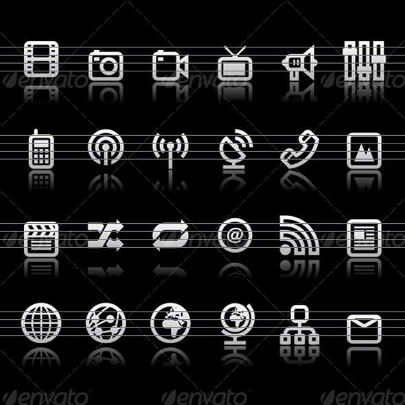 Simple icons on black background - Set 6