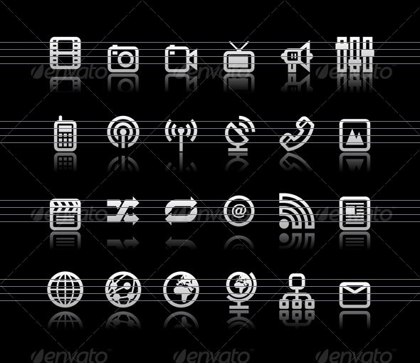 Simple icons on black background - Set 6 - Web Icons