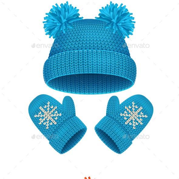 Hat and Mitten Set Winter Accessories. Vector