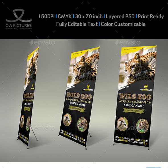 Zoo Signage Roll Up Banner Template