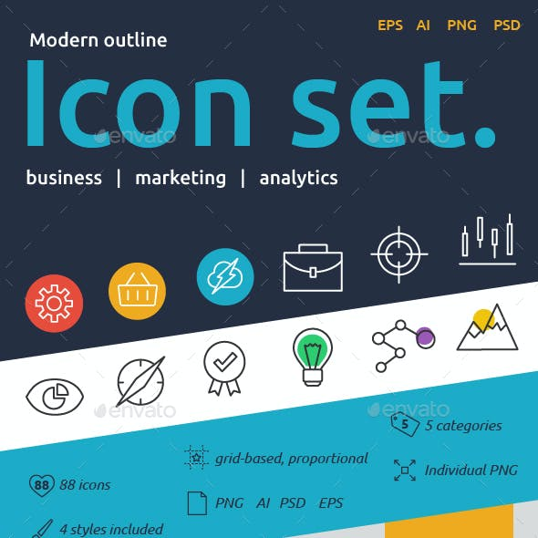 Modern Line Icons - Marketing & Business