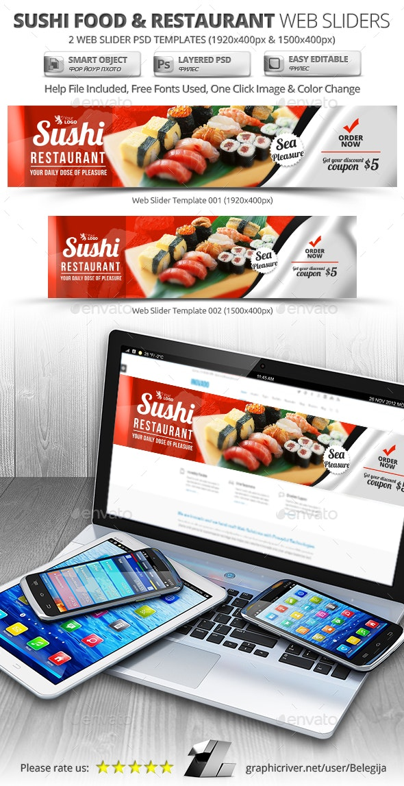 Sushi Food & Restaurant Web Sliders - Sliders & Features Web Elements
