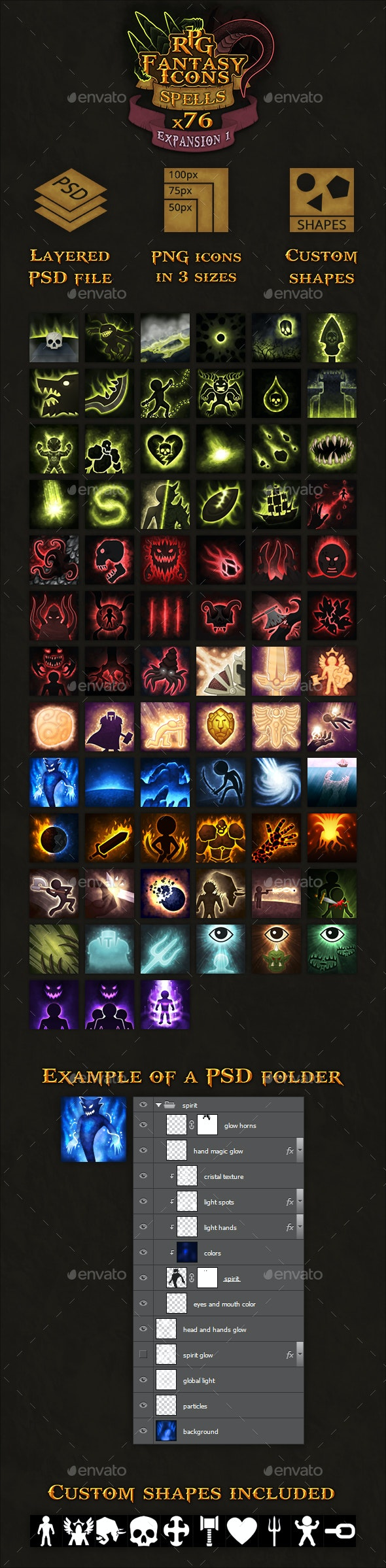 76 RPG Fantasy Spells Icons - Miscellaneous Game Assets