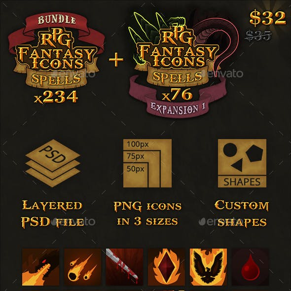 310 RPG Fantasy Spells Icons Bundle