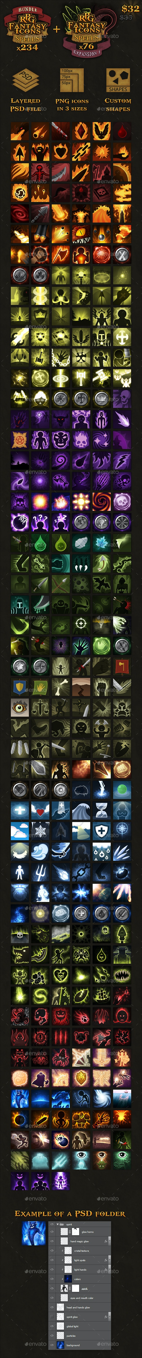 310 RPG Fantasy Spells Icons Bundle - Miscellaneous Game Assets