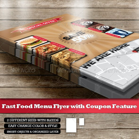 Fast Food Menu Flyer - Coupon Function and QR-Code