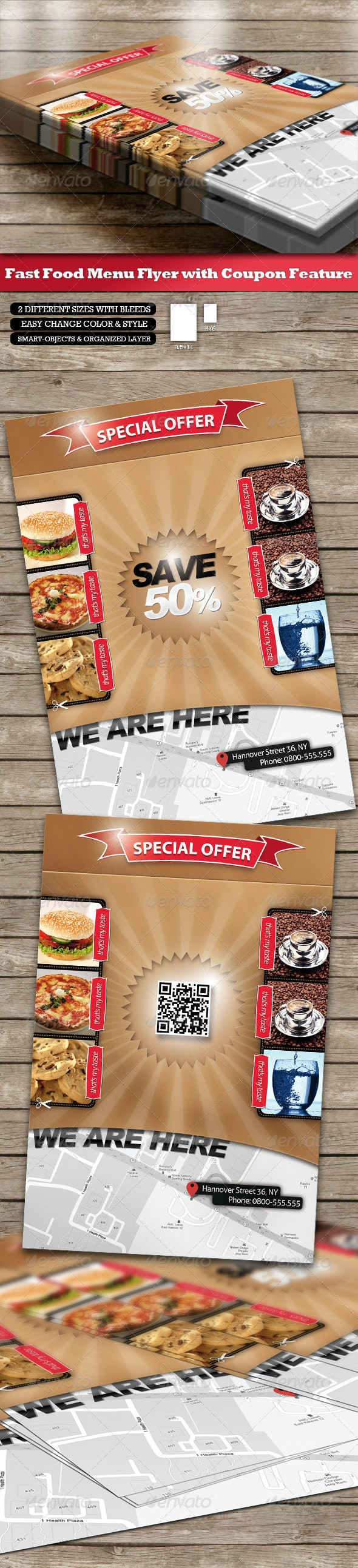 Fast Food Menu Flyer - Coupon Function and QR-Code - Restaurant Flyers
