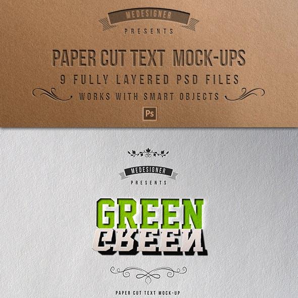 Paper Cut Text Mock-Ups