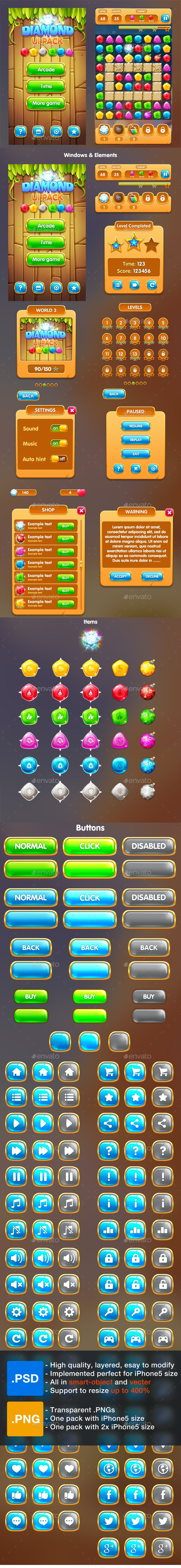 Cartoon Game UI Pack 1 - Game Kits Game Assets