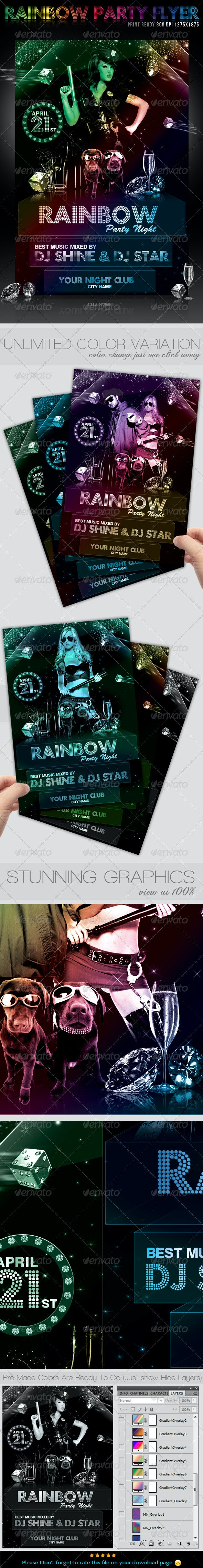 Rainbow Party Event Flyer - Clubs & Parties Events