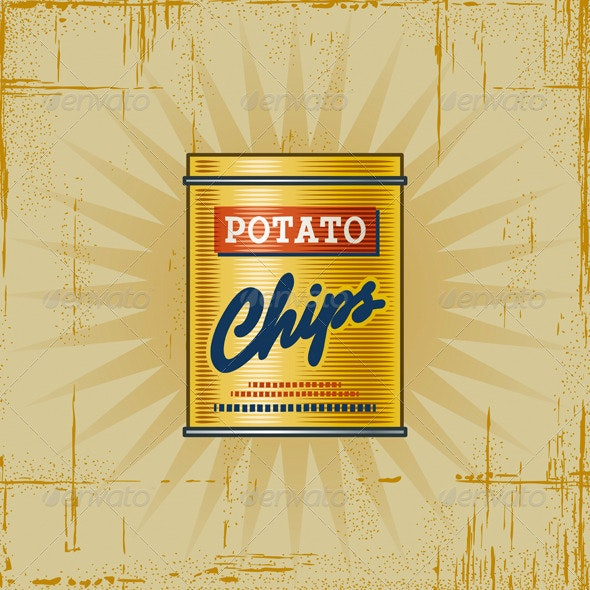 Retro Potato Chips Can - Food Objects