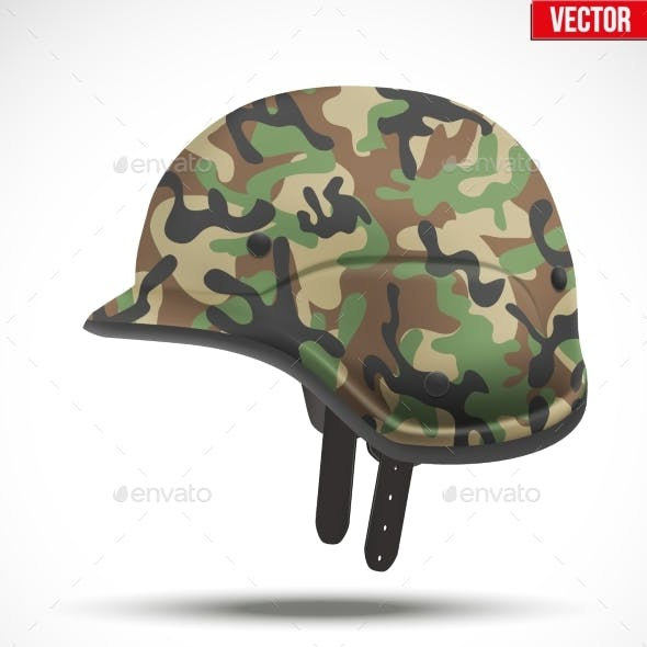 Military Modern Camouflage Helmet. Side View.