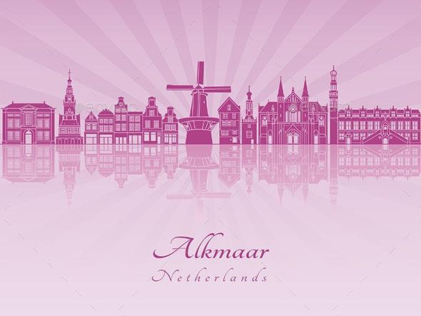 Alkmaar Skyline in Purple Radiant Orchid - Buildings Objects