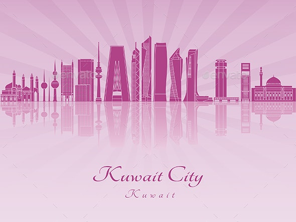 Kuwait City V2 Skyline in Purple Radiant Orchid - Buildings Objects