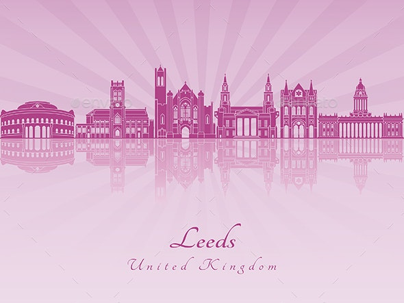 Leeds V2 Skyline in Purple Radiant Orchid - Buildings Objects