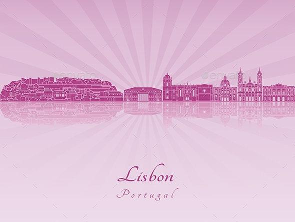 Lisbon V2 Skyline in Purple Radiant Orchid - Buildings Objects