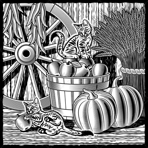 Retro Barn With Harvest Black And White - Food Objects
