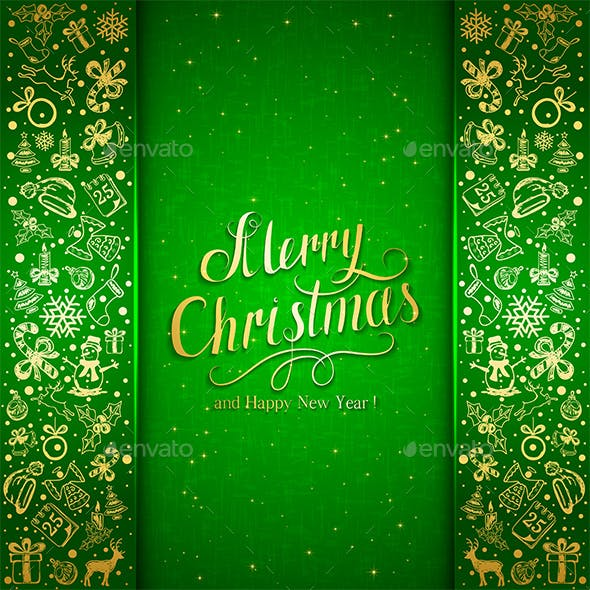 Christmas Decorative Elements on Green Background