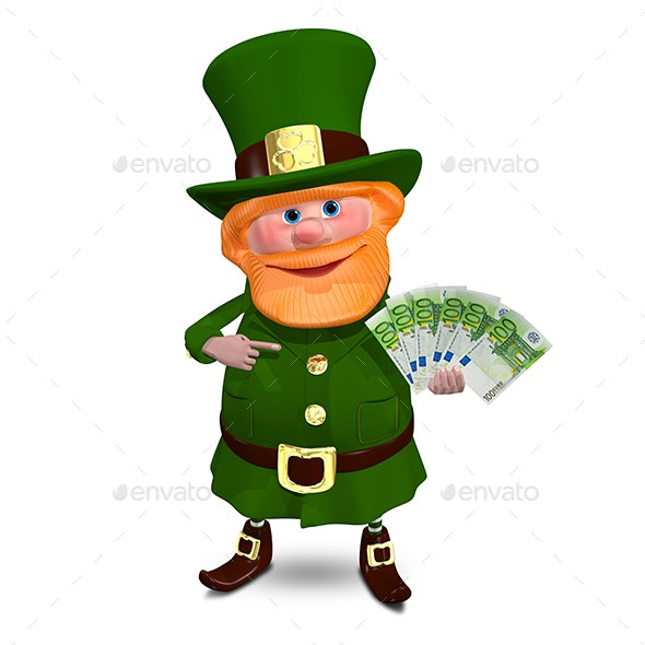3D Illustration of Saint Patrick with Euro Veer - Characters 3D Renders