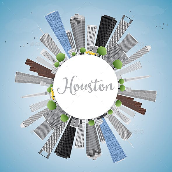 Houston Skyline with Gray Buildings and Blue Sky