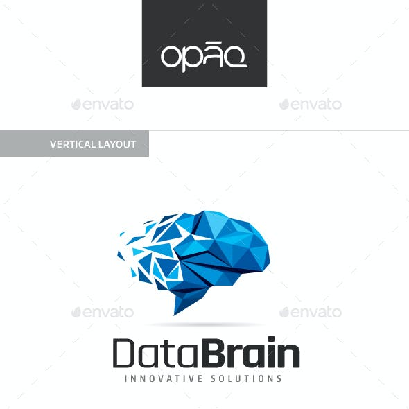 Data Brain Polygon Logo