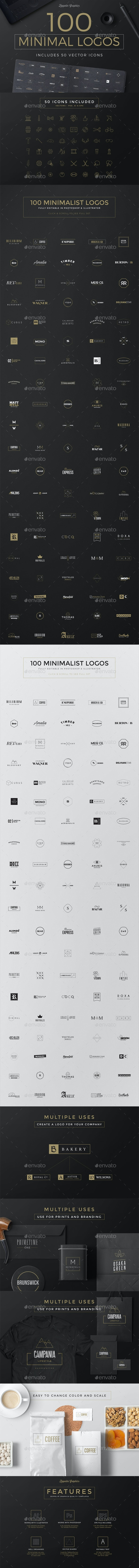 100 Minimal Logos - Badges & Stickers Web Elements