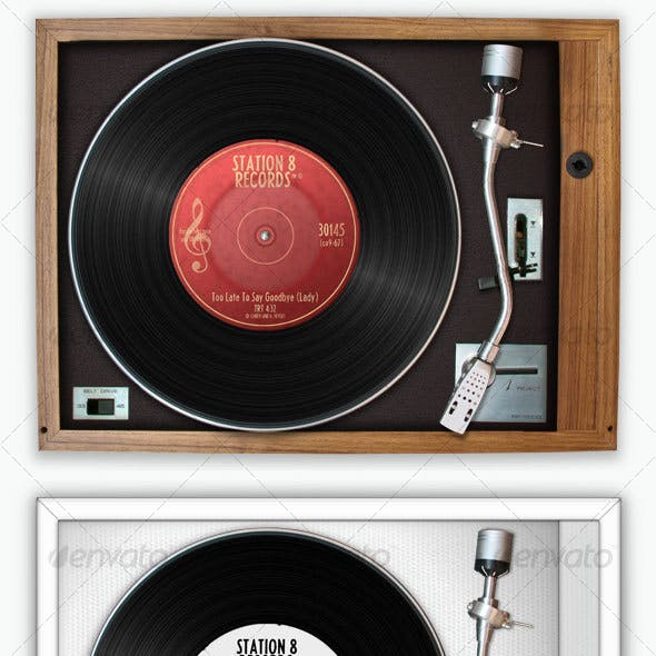 Retro Record Player Set