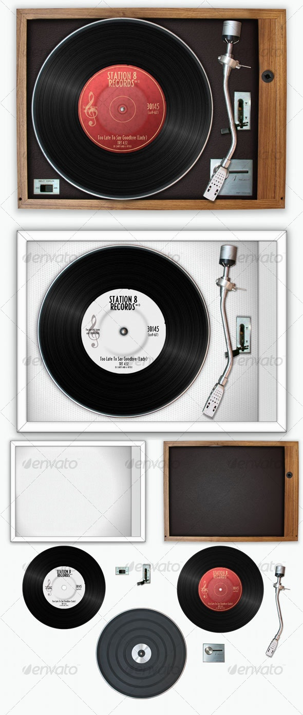 Retro Record Player Set - Technology 3D Renders