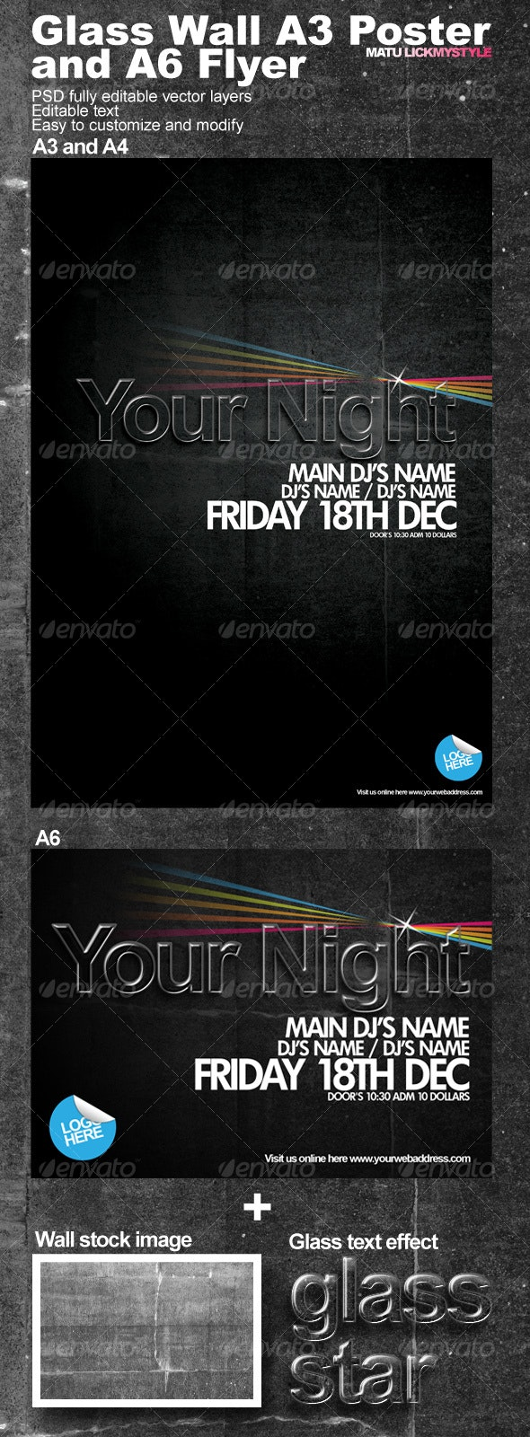 Wall A3 Poster and A6 Flyer - Miscellaneous Print Templates