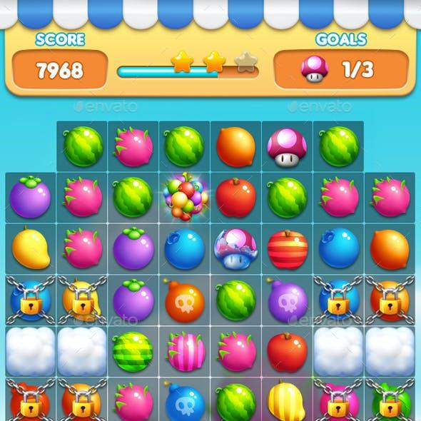 Fruits - Match 3 Game Assets