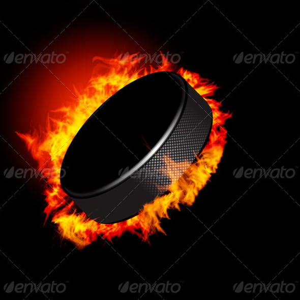 Vector Hockey Puck In The Fire
