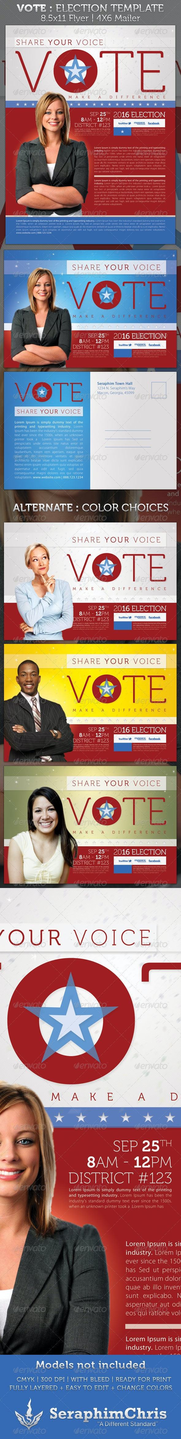 Vote - Election Full Page and Mailer Template - Events Flyers