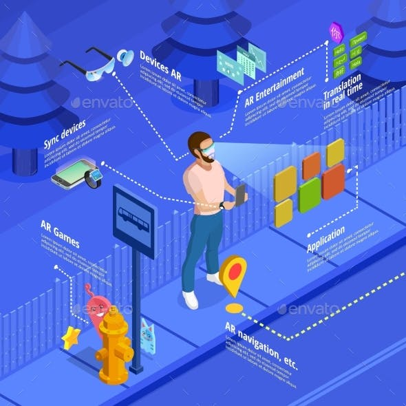 Augmented Reality Navigation Game Isometric Poster