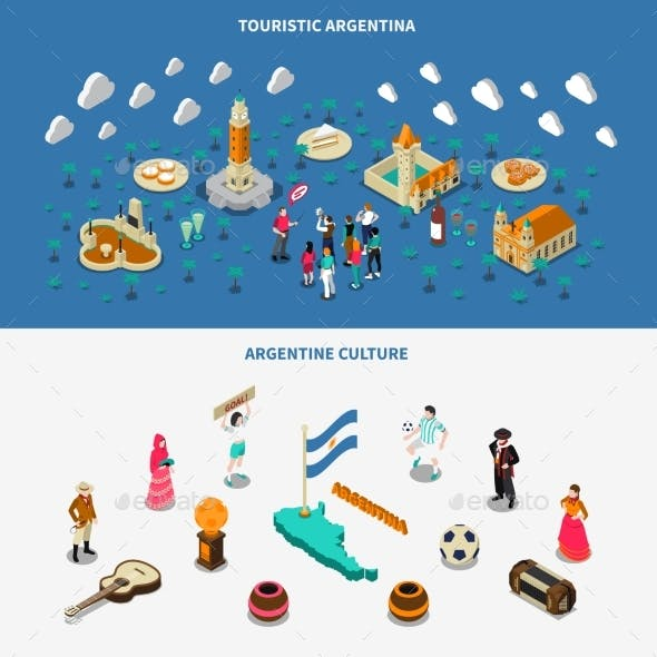 Argentina 2 Isometric Touristic Attractions