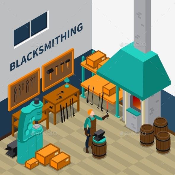Blacksmith Shop Facility Indoor Isometric Poster
