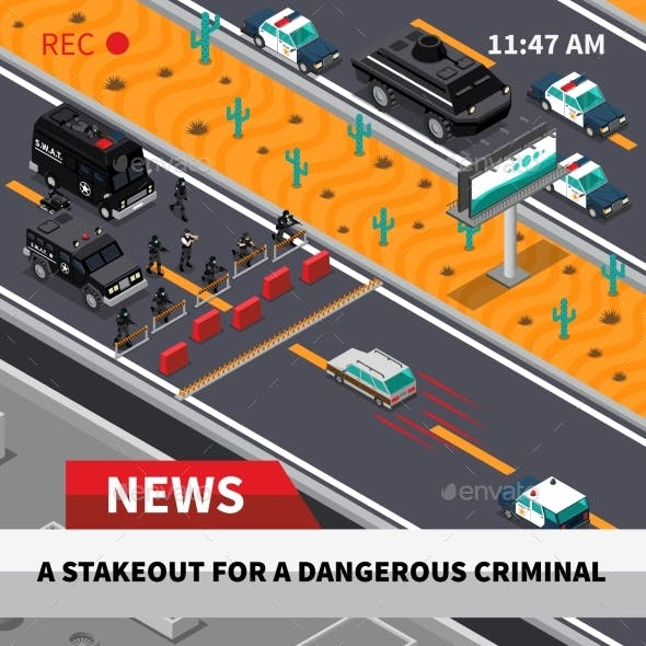 Swat Action Isometric Screenshot Composition