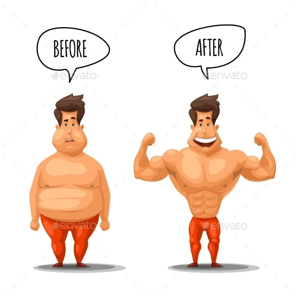 Weight Loss. Man Before and After Diet Vector
