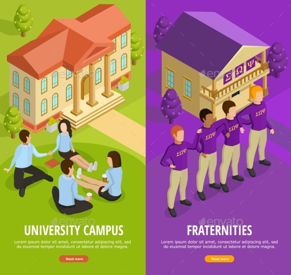 University Education 2 Isometric Vertical Banners By Macrovector Graphicriver