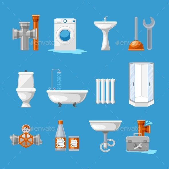 Plumbing Sanitary Engineering Icons