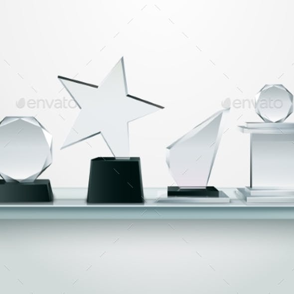 Glass Trophies on Shelf Realistic Image